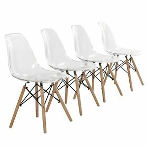 Set of 4 Dining Chairs Acrylic Transparent Chairs Kitchen Furniture Wooden Legs