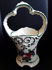 Ceramic Porcelain Basket Vase Czechoslovakia Floral  Slovakia Pottery