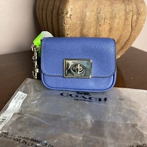 Coach Mini Cassidy Leather Coin Case Key Ring Bag Charm Blue Lavender F73858 W14