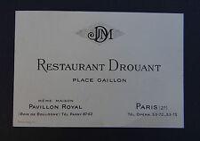 Carte de visite RESTAURANT DROUANT Paris place Gaillon visit card Visitenkarte