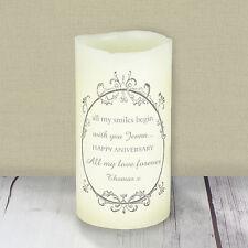 Messaggio Personalizzato ORNATA Swirl LED Candela-Anniversario, Matrimonio, Memorial