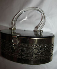 vintage marbelized lucite with metal filigree cutout art deco box purse hand bag