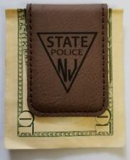 NJSP New Jersey State Police Dark Brown Leather Money Clip