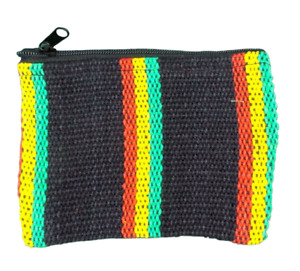 Rasta Stripe Coin Purse Bag Pouch Credit Card ID Holder Wallet 100% Cotton NWT
