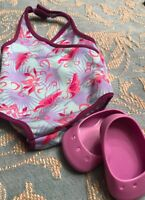Authentic American Girl Doll Clothes LILAC SND FUCHSIA SWIMSUIT & POOL SHOES