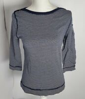 Ralph Lauren Cotton Striped Boat Neck Women's Top 3/4 Sleeve Blue and White S
