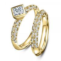 Fashion Women Men's 18K Gold Filled White Sapphire Ring Wedding Bridal Jewelry