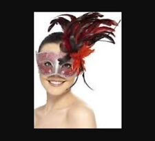 Masquerade Ball Colombina Crackle Effect Eyemask with Feathers & Ties Smiffys