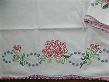 Vintage Pillowcases Pair Crocheted Embroidered Rose Blue Green Stunning Excellen
