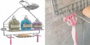 Hanging Shower Caddy, Organizer Shelf, Bathroom Storage Rack Silver