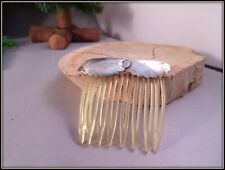 VINTAGE HAIR COMB WITH HAND WORKED  STERLING SILVER LEAF HEADER