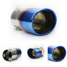 1x Blue Stainless Steel Car Rear Silencer Exhaust Pipe Tail Muffler Tip Tailpipe