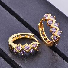 Childrens Kid Girls Safety purple crystal hoop earrings Real 10k gold filled