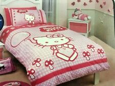 Hello Kitty SINGLE Quilt / Doona Cover - Pink and White Check - Balloon