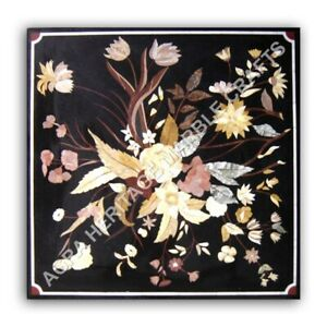 """24"""" Black Marble Side Coffee Garden Table Top Marquetry Floral Inlay Decor E1040"""