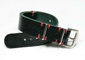 Leather watch strap for men, Dark green wrist watch bands 18 20 22 24mm Handmade