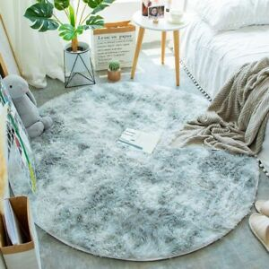 Fluffy Round Rug Carpets For Living Room Decor Faux Fur Long Plush Modern Mat