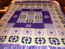 Purple Green Handcrafted Crochet Afghan Throw Blanket ~ Acrylic Complex Pattern
