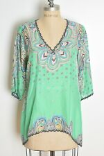 Johnny Was top green silk feather print hippie boho caftan blouse shirt S/M