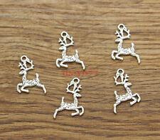 50 Christmas Deer Reindeer Animal Charms Bulk 2 Sided Antique Silver 14x24 1337