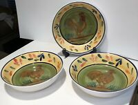 Baum Brothers PROVENCE ROOSTER COLLECTION SALAD SOUP CEREAL BOWLS SET OF 3