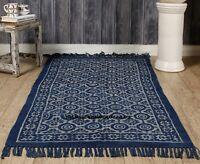 Blue Cotton Rug Indigo Hand Block Print Indoor Carpet Throw Dhurrie Runner Dari