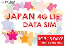 JAPAN DATA SIM UNLIMITED DATA 4G LTE 3GB 8 DAYS PREPAID SIM BY SOFTBANK AIS