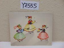 VINTAGE CHRISTMAS CARD MID CENTURY-3 GIRLS SINGING-WITH BELL BALLROOM DRESS RARE