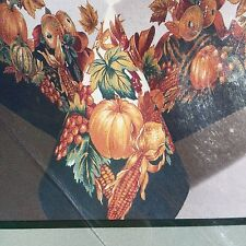 "Fall Festival Tablecloth Squash Corn New 60""x102"" Oblong 100% Cotton 8-10 People"