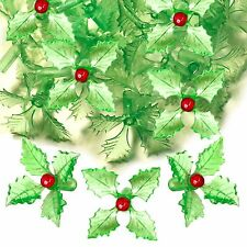 Vintage Ceramic Christmas Tree 25 Green Holly Poinsettia Bulb Lights ~RARE~