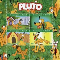 Chad Disney Stamps 2019 MNH Pluto Dogs Cartoons Animation 4v M/S