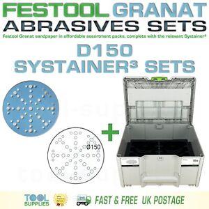 Festool GRANAT D150 Sandpaper Systainer³ Sets - RO 150 ETS EC LEX 3 ROTEX 150mm