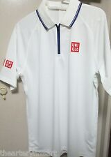 UNIQLO x Kei Nishikori 2015 Wimbledon DRY-EX Polo Shirt M White w/ Purple *NEW*