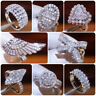 925 Silver Rings 8 Styles Women White Sapphire Wedding Engagement Ring Size 6-10