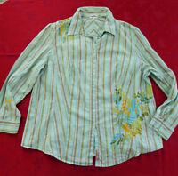 schöne MY LINE Stretch Bluse Gr. XL / 48 grün türkis