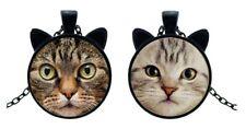 2 Colliers pendentif tête et oreilles de chat tigré et beige, fun.