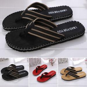 Mens Beach Slippers Summer Flip Flops Toe Post Slip On Sandals Comfortable Chic