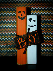 Handmade Primitive Pumpkin and Ghost Set - Wooden Shelf Sitters