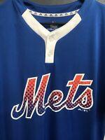 ⚾️🔥Majestic Mens MLB NY Mets Henley Shirt Short Sleeve Large L Blue⚾️🔥
