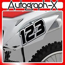 3x Carreras Números Pegatinas Calcomanías Personalizado Acu Bicicleta Motocross Ensayos MX DIRT BIKE 06