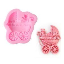Baby Pram Carriage Silicone Mould Cupcake Toppers Sugarcraft Mold Christening