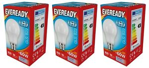 x 3 Eveready 9.6w (=60w) LED Opal GLS Bulb ? Bayonet Cap (BC) Daylight White 865