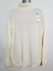 Woolovers unisex Cashmere Merino Polo Neck Jumper Sweater cream size XL