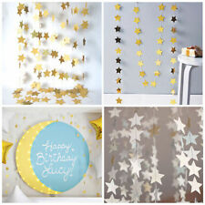 4M Gold Star Paper Garland Hanging Bunting Wedding Xmas Party Decoration Craft