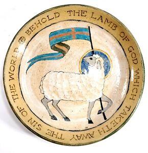 Vintage Folk Art Ceramic Plate Left Handed RUSSELL HENRY Hay Creek Pottery PA.