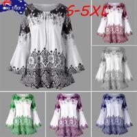 AU XL-5XL Women Plus Size Print Keyhole T-shirt Long Sleeve Tee Shirt Top Blouse