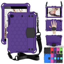 For Apple iPad Mini 123 4 5 Kids Shockproof Shoulder Hand Strap Case Stand Cover