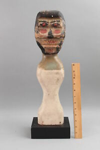 Antique Carved & Painted Wood Folk Art Carnival Knockdown Doll NO RESERVE