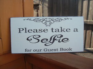 Photo Booth Wedding sign Take a Selfie Free Standing Vintage Shabby & Chic 8x4