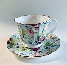 Vintage  Rare Crown Trent Bone China Tea Cup Saucer Floral Over Blue Background